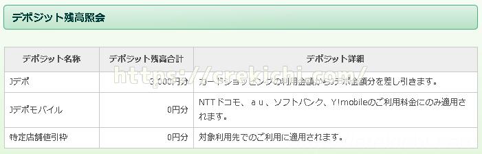 デポジット残高照会・獲得履歴  ジャックス インターコムクラブ
