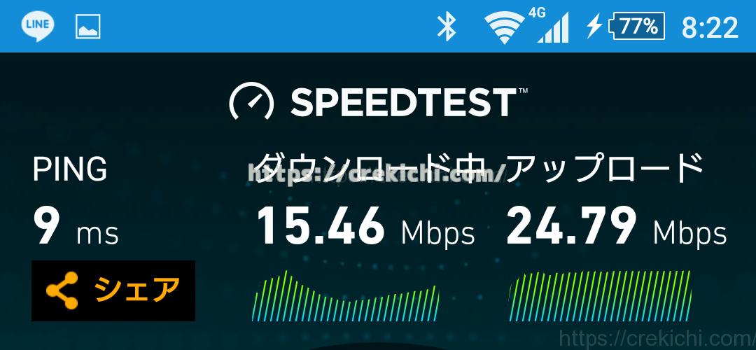 TEIラウンジのWIFIスピード