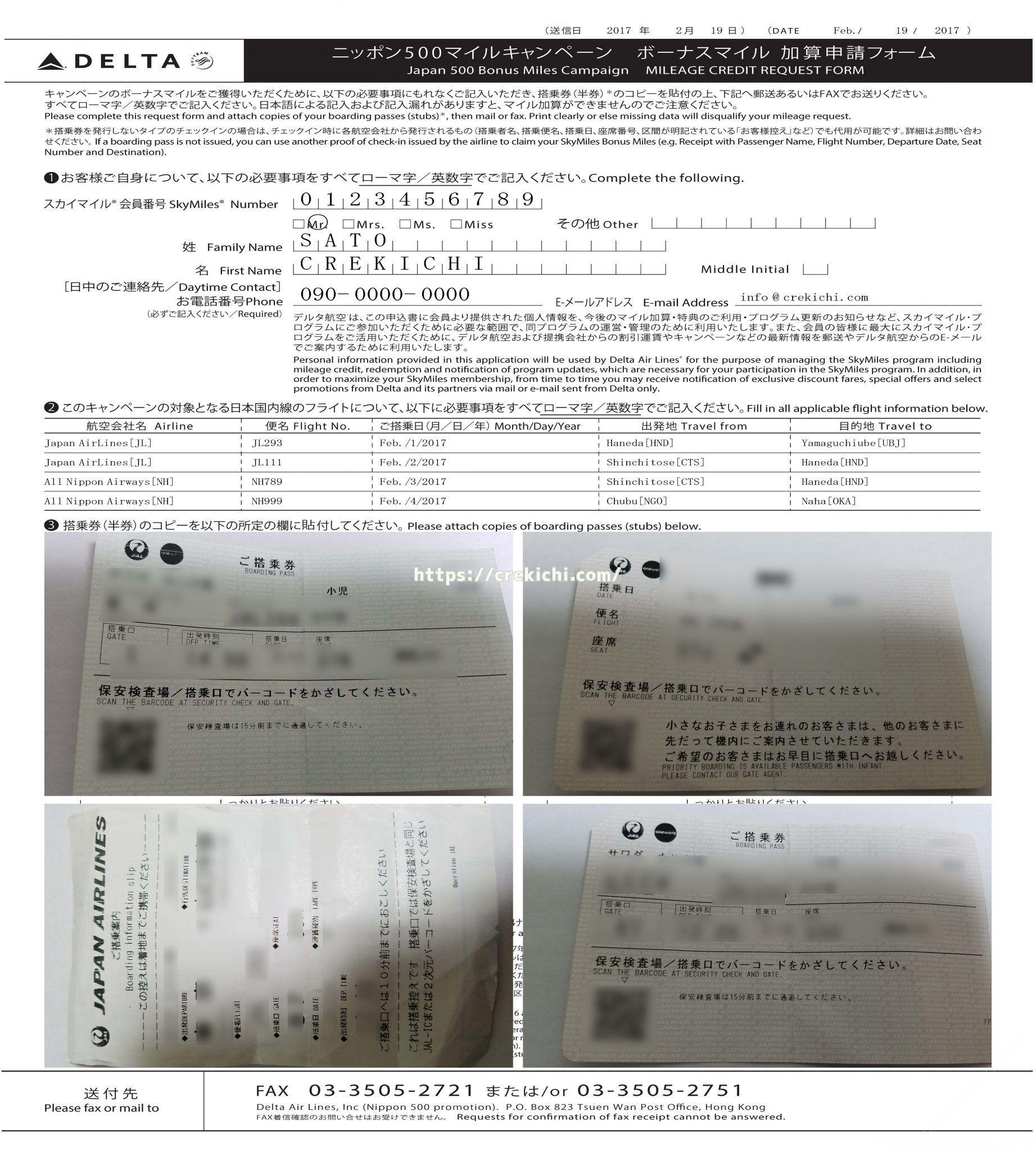 スカイマイルニッポン500申請用紙