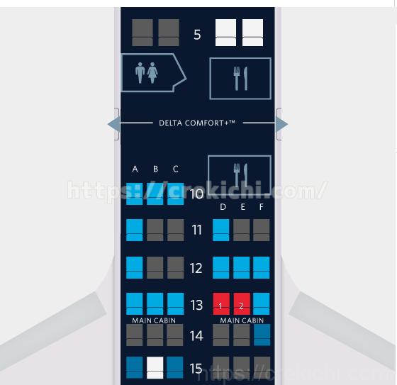 デルタグアム便アップグレードされてアサインされた座席