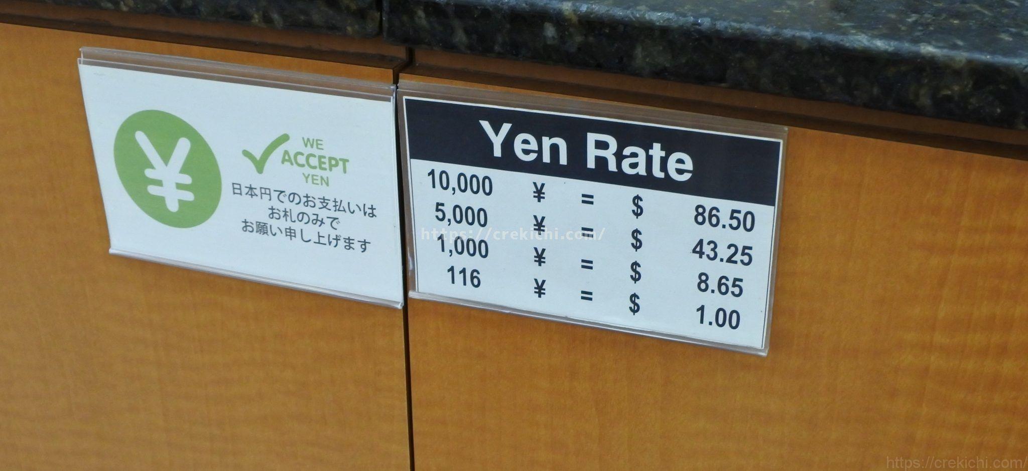 グアムABCストアの両替レート