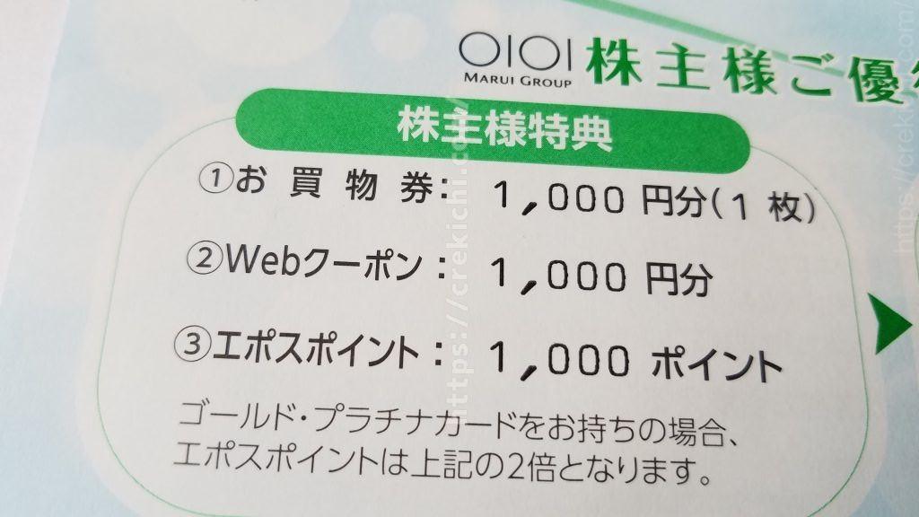丸井株主優待の内容